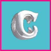 Silver Bead Letter C Genuine Solid Pure 925 Stamped Sterling Silver Bead Charm Letter Initial Alphabet for European Bracelet and Chains - 3D Slide on/off - QUEEN OF SILVER