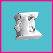 Silver Bead Letter E Genuine Solid Pure 925 Stamped Sterling Silver Bead Charm Letter Initial Alphabet for European Bracelet and Chains - 3D Slide on/off - QUEEN OF SILVER