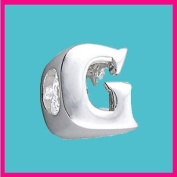 Silver Bead Letter G Genuine Solid Pure 925 Stamped Sterling Silver Bead Charm Letter Initial Alphabet for European Bracelet and Chains - 3D Slide on/off - QUEEN OF SILVER