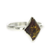Nova Silver Classic Amber Diamond Shape Cognac Amber Ring In Size N