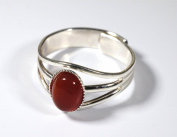 Handmade Celtic 3 Band Semi-Precious Carnelian Gemstone Pewter Ring