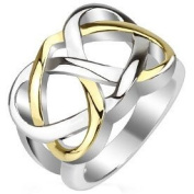 316L Stainless Steel Two Tone Gold Chunky Celtic Knot Ring Size Q Or 8