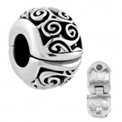 Silver Plated Pugster Irish Celtic Swirl Flower Clip Lock Stopper Spacer Bead Fits Pandora Charm Bracelets