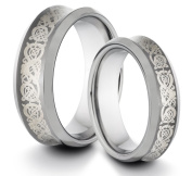 His & Her's 8MM/6MM Tungsten Carbide Polished Concave Comfort Fit Wedding Band Ring Set w/ Laser Engraved Asian Dragon Design
