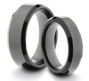 His & Her's 8MM/6MM Tungsten Carbide Black Polished Comfort Fit Wedding Band Ring