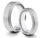 His & Her's 8MM/6MM Tungsten Carbide Brushed & Polished Comfort Fit Wedding Band Ring