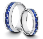 His & Her's 8MM/6MM Tungsten Carbide Classic Styled Polished Comfort Fit Wedding Band Ring w/ Blue Carbon Fibre Inlay