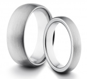 His & Her's 8MM/4MM Tungsten Carbide Classic Styled Brushed Comfort Fit Wedding Band Ring