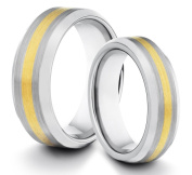 His & Her's 8MM/6MM Tungsten Carbide Brushed & Polished Comfort Fit Wedding Band Ring w/ 18k Gold Plated Inlay