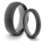 His & Her's 8MM/4MM Tungsten Carbide Black Brushed & Polished Comfort Fit Wedding Band Ring