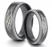 His & Her's 8MM/6MM Tungsten Carbide Black Polished Comfort Fit Wedding Band Ring Set w/ Laser Engraved Tribal Design