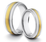 His & Her's 8MM/6MM Tungsten Carbide Classic Styled Brushed & Polished Comfort Fit Wedding Band Ring w/ 18k Gold Plated Inlay