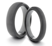 His & Her's 6MM/4MM Tungsten Carbide Black Brushed & Polished Comfort Fit Wedding Band Ring