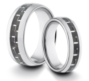 His & Her's 8MM/6MM Tungsten Carbide Classic Styled Polished Comfort Fit Wedding Band Ring w/ Black Carbon Fibre Inlay