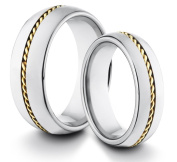 His & Her's 8MM/6MM Tungsten Carbide Classic Styled Polished Comfort Fit Wedding Band Ring w/ Gold Braided Inlay