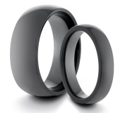 His & Her's 8MM/4MM Tungsten Carbide Polished Black Classic Styled Comfort Fit Wedding Band Ring Set