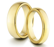 His & Her's 6MM/4MM Tungsten Carbide Polished Gold Classic Styled Comfort Fit Wedding Band Ring Set