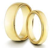 His & Her's 8MM/4MM Tungsten Carbide Polished Gold Classic Styled Comfort Fit Wedding Band Ring Set