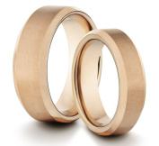 His & Her's 8MM/6MM Tungsten Carbide Brushed & Polished Rose Gold Comfort Fit Wedding Band Ring Set