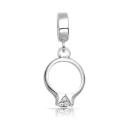 Bling Jewellery 925 Sterling Silver CZ Engagement Ring Dangle Charm .  Bead