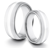 His & Her's 8MM/6MM Tungsten Carbide Classic Styled Polished Comfort Fit Wedding Band Ring w/ Sterling Silver Inlay