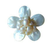 Ploy! Natural White Gemstone FW Pearl Ring Floral Cocktail Brass Ring MOP Cluster Ring Bridal Jewels Adjustable Size BR3
