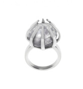 Renaissance Life Stainless Steel Cage Ring with Crystal Stone- Size M