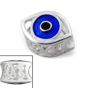Silvadore - Silver Bead - Eye Evil Spy Curly Cut Design Black Blue Pupil - 925 Sterling Charm 3D Slide On 420 - Fits Pandora European Bracelet.