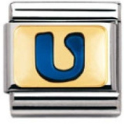 Nomination Composable Classic Letter Blue U Stainless Steel, Enamel and 18K Gold