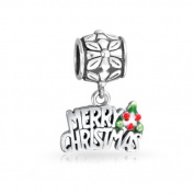 Bling Jewellery 925 Sterling Silver Merry Christmas Dangle Bead .  Charm