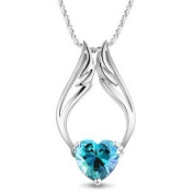 Rhodium Plated Heart Shape Blue Angel Wings Pendant Necklace Including Singapore Chain '120cm