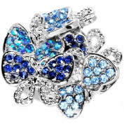 Beautiful Jewelled Cluster Butterfly Adjustable Ring