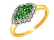 9ct Yellow Gold Ladies' Emerald & Diamond Fancy Cluster Ring Size P