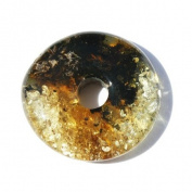 Three Golden Circle Amber Beads, Pandora Style Charm, Perfect for jewellery making as well.