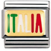 Nomination Composable Classic Geography Italy Stainless Steel, Enamel and 18K Gold