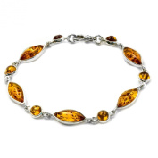 Amber Sterling Silver Contemporary Marquise Shape Bracelet 18cm