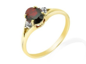 9ct Yellow Gold Garnet and 0.010ct Diamond Ring - Size P