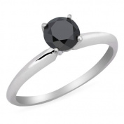 1/3 CT Solitaire Round Black Diamond Engagement Ring in 14K White Gold