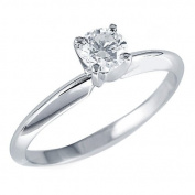 1/5 CT Classic Solitaire Round Diamond Solitaire Engagement Ring in 10K White Gold