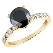 2 1/4 CTW Black and White Round Diamond Engagement Ring in 14K Yellow Gold