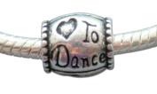 Love Heart to Dance Barrel Shaped Silver Tone Charm Bead by Crystal Charmz © - Pandora, Troll, Biagi and European Bracelet Compatible