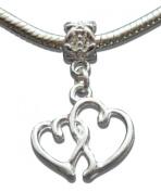 Silver Plated Love Hearts Shaped Dangle Charm Bead by Crystal Charmz - Pandora, Troll, Biagi and European Bracelet Compatible