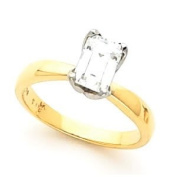 Emerald Cut Diamond Solitaire Engagement Ring Yellow Gold