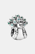 Pandora Sterling Silver Green Cubic Zirconia Peacock Charm - 791227MCZ - Moments Collection