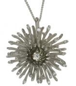 Diamond 0.35 carat and Green Tahitian Pearl 14ct White Gold Pendant + Chain