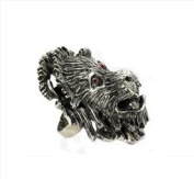 Antique White Metal Lion Ring with Red Diamonte Stone Detail