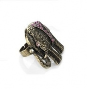 Gold Effect Elephant Adjustable Ring with Gem Stone Detail