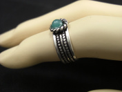 Goethnic Handmade Finger Ring In White-Metal Carving And Studded Gemstone Green
