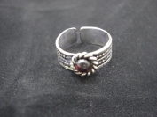 Goethnic Handmade Finger Ring In White-Metal Carving And Studded Gemstone Red