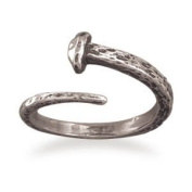 Sterling Silver Small Oxidised Adjustable Nail Ring - Size Sm - JewelryWeb